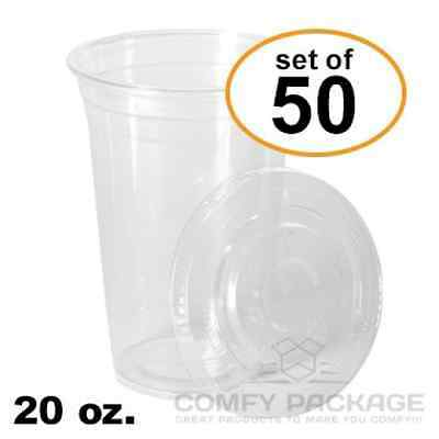 COMFY PACKAGE 50 Sets 20 Oz. Plastic CRYSTAL CLEAR Cups with Flat Lids for Cold