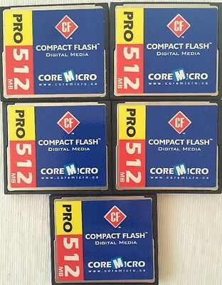CoreMicro 512MB Compact Flash Card ~ 5 Pack ~ No Packaging