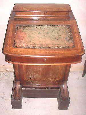 "Victorian Walnut Cross Banded Davenport Desk on Later Stained Wood Plinth 36""H"