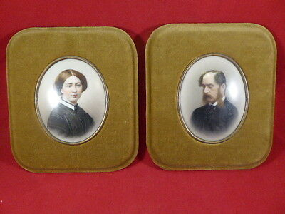 Rare Pair Of Antique Miniature Memento Mori Mourning Pictures On Porcelain