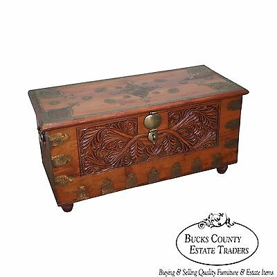 Vintage Anglo Carved Dower Blanket Chest w/ Brass Boulle Work