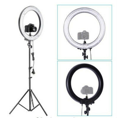 """Camera Photo 18""""outer 14""""inner 600W 5500K Ring Dimmable Flash Light w Stand"""