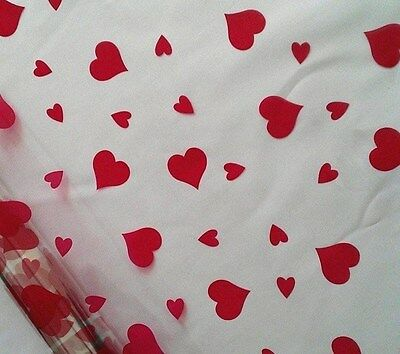 RED heart cellophane roll 20m perfect gift wrapping purposes Valentines day love