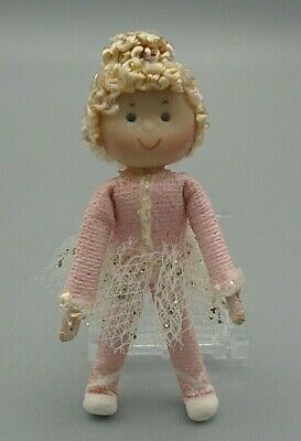 Beautiful Blonde Ballerina in a Pink Sparkly Tutu Handmade Doll 1.75""