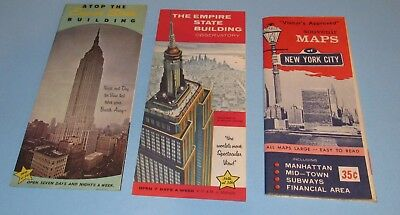 1950s Lot 3 New York City Map & Empire State Building Pamphlets Vintage RARE