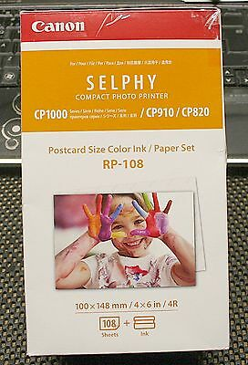 Canon Selphy Compact Photo Printer Postcard Size Color Ink / Paper Set - Rp-108