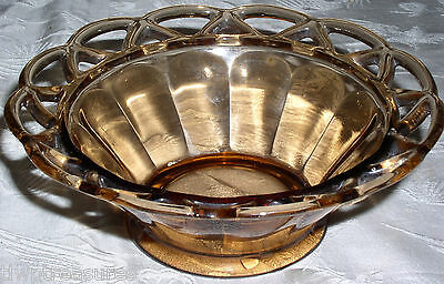 1940s Imperial Glass LACED EDGE Pattern Variant Amber Bowl or Nappy