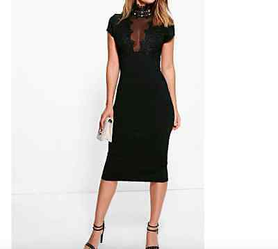 Ladies New Lace Panelled Mesh Insert Midi Dress In Black Size 10 UK