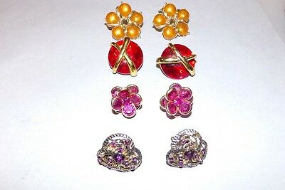Bold Faux Gem Vintage Clip on Earrings Fashion Jewelry Acrylic Red Pink Yellow