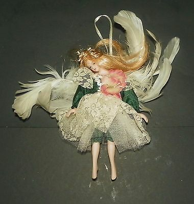 VINTAGE DELICATE FAIRY ANGEL CHRISTMAS TREE ORNAMENT WITH FEATHER WINGS rare