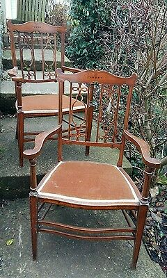 Pair of Edwardian inlaid chairs beautiful backs