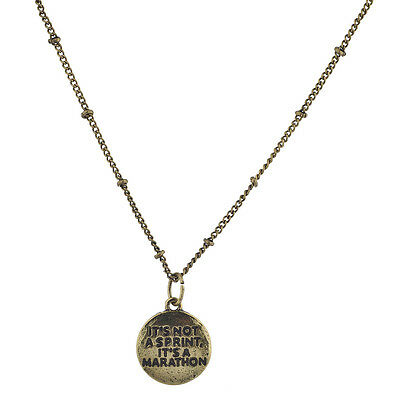 Lux Accessories burnished Gold Its Not a Sprint Its a Marathon Pendant Necklace