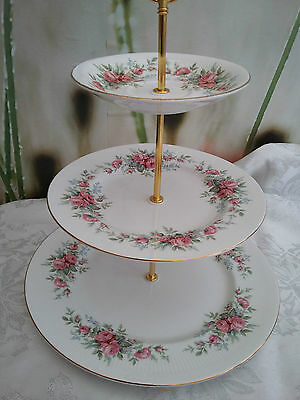 "Vintage Style--Shabby Chic--Ex. Large 3-tier Cakestand ""Pink Roses"""