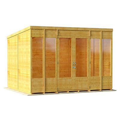 Outdoor Huge Summer House Log Cabin Building Structure Garden Patio Shed 10x8
