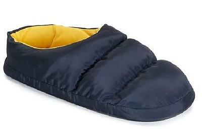 NEW Mens Heat Keep Men's Puffer Blue/Yellow  House Slippers Shoes SZ L=9.5-10.5