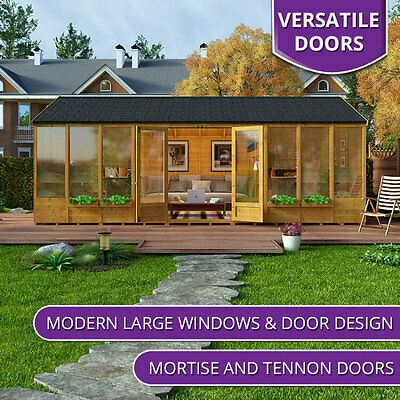 Outdoor Huge Summer House Log Cabin Building Structure Garden Patio Shed 20x10