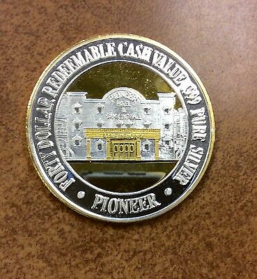 {BJSTAMPS}  $40 Solid Silver & GOLD plating Pioneer Casino Laughlin~47mm 1.53oz
