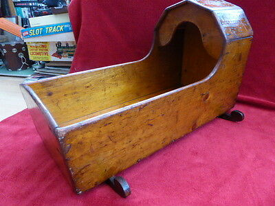 LOVELY ORIGINAL LARGE ANTIQUE VICTORIAN PINE DOLLS BEARS CRADLE COT c1890