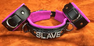 5 pc multi layer leather name restraint set wrist cuffs ANY WORD on collar