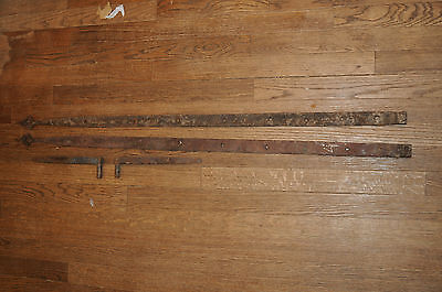 1800's New England Hand Forged, 2 Iron Barn Door Strap Hinges Antique Hardware.