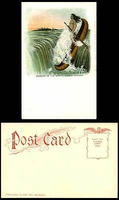 Native American Red Indian Legend of White Canoe Boat Niagara Falls Old Postcard