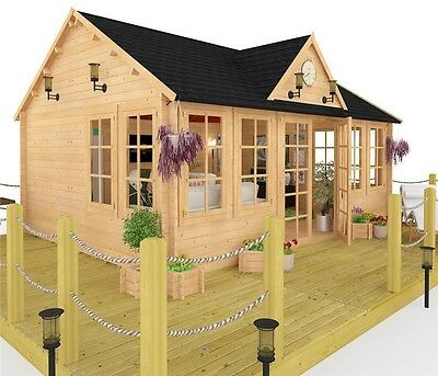 Outdoor Huge Log Cabin Summerhouse Luxurious Garden Building Shed Patio 5.5x4m