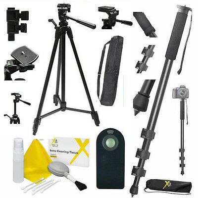 "75"" Heavy Duty Professional Tripod + 72"" Monopod + Remote For Canon Eos Rebel"