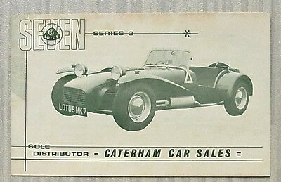 LOTUS SEVEN SERIES III SPORTS CAR Sales Brochure c1969