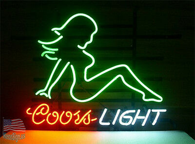 """Coors Light Girl Neon Sign 17""""x14"""" From USA"""