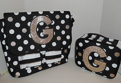 New Girls JUSTICE Messenger Bag + Lunch Box Tote Initial G Black Gold Backpack