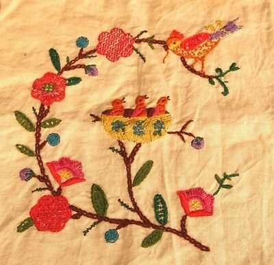 Completed Embroidery Crewel Pillow Kit Vintage Bohemian Birds 11.5 Square Linen