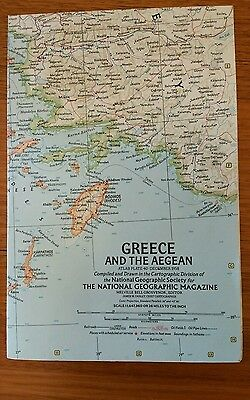 Original 1958 National Geographic Map GREECE and the AEGEAN