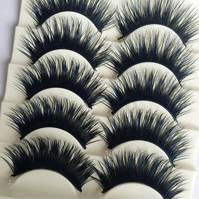 5 Pairs Blue+Black Long Thick Cross False Eyelashes Handmade eye lashes