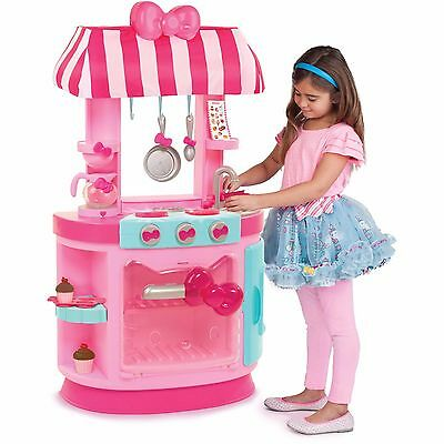 Hello Kitty Kitchen & Cafe Play Set w Accessories Lights Sounds Girls Pink 11 Pc