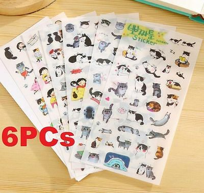6 Sheets Stickers Cat Album Diary Calendar Stickers Label Scrapbooking Craft ✿