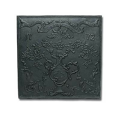 Cast Iron Fireback w Antique Stamping [ID 2617]