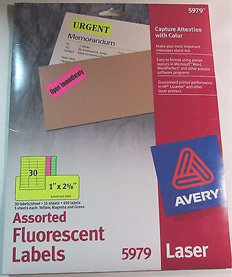 "Avery 5979 Flourescent Labels 1"" X 2 5/8"" Easy Peel 15 Sheets 450 Labels **new**"