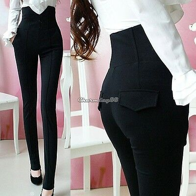 NEW WOMEN HIGH WAISTED BLACK JEGGINGS LADIES SKINNY SLIM LOOK PANT Trousers