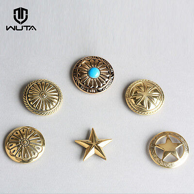 Solid Brass Leather Craft Rivet Stud Punk Screw Back Wallet bag Conchos Decor 2x