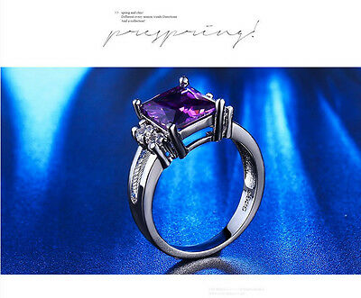 Ring Ladies Ameythyst / Zirconia Platinum &  Silver Fashion  Dress Ring 1005