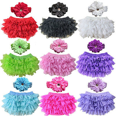 New Baby Bloomers Diaper Cover Headband Set Newborn Ruffle Lace Infant Shorts