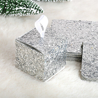 12X Glitter Silver Wedding Favor Sweet Cake Gift Candy Boxes Table Decor