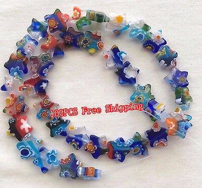 Wholesale Lots 100pcs Shining Star Millefiori Glass Craft Beads Multi-Color DIY