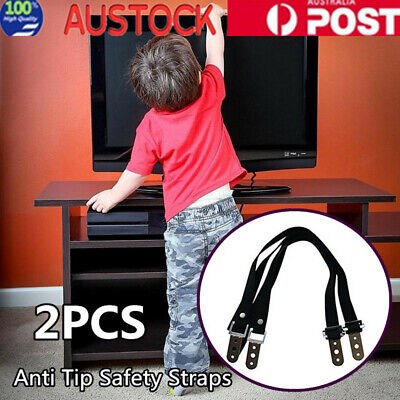 2X Anti Tip Safety Straps  Flat Screen TV Fix Anchor Baby Child Secure Proofing