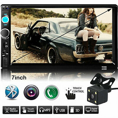 """7"""" Double 2Din In Dash Car MP3 MP5 Radio Player GPS Touch Bluetooth FM + Camera"""