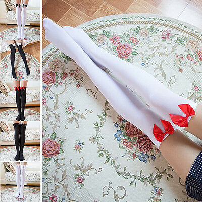Girl Stretchy Meias Over The Knee High Socks Stockings Tights With Bows Thigh  f