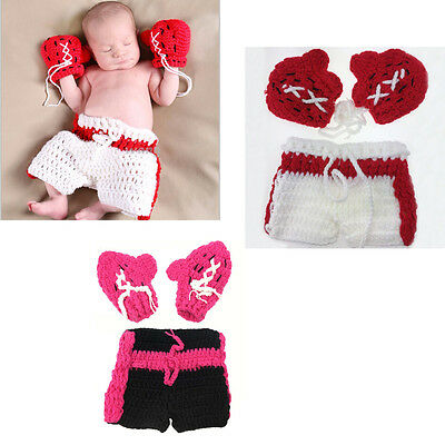 Boxing Man Baby Photo Props Handmade Knitted Gloves+Shorts Photography Props