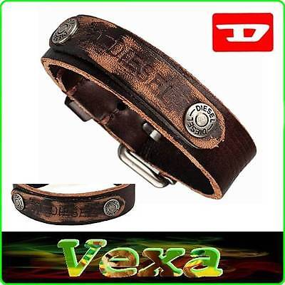New DIESEL Leather Bracelet Brown Bangle Wristband Men's Womens Surfer rock BD20