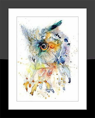 SkinnyDaz- A4/A3 Art Print from Original Watercolour Owl Painting - Animal