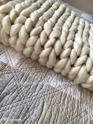 Pure Merino Wool Chunky Extreme Knit Blanket / Throw